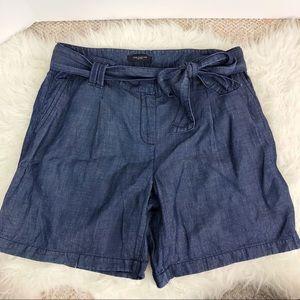 Ann Taylor linen & lyocell blend denim tie shorts